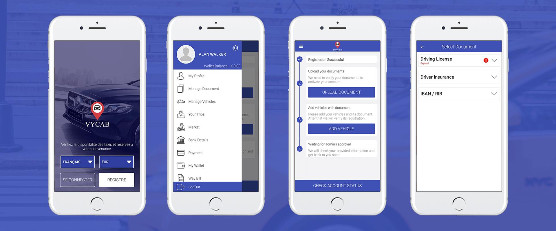vycab app iphone design