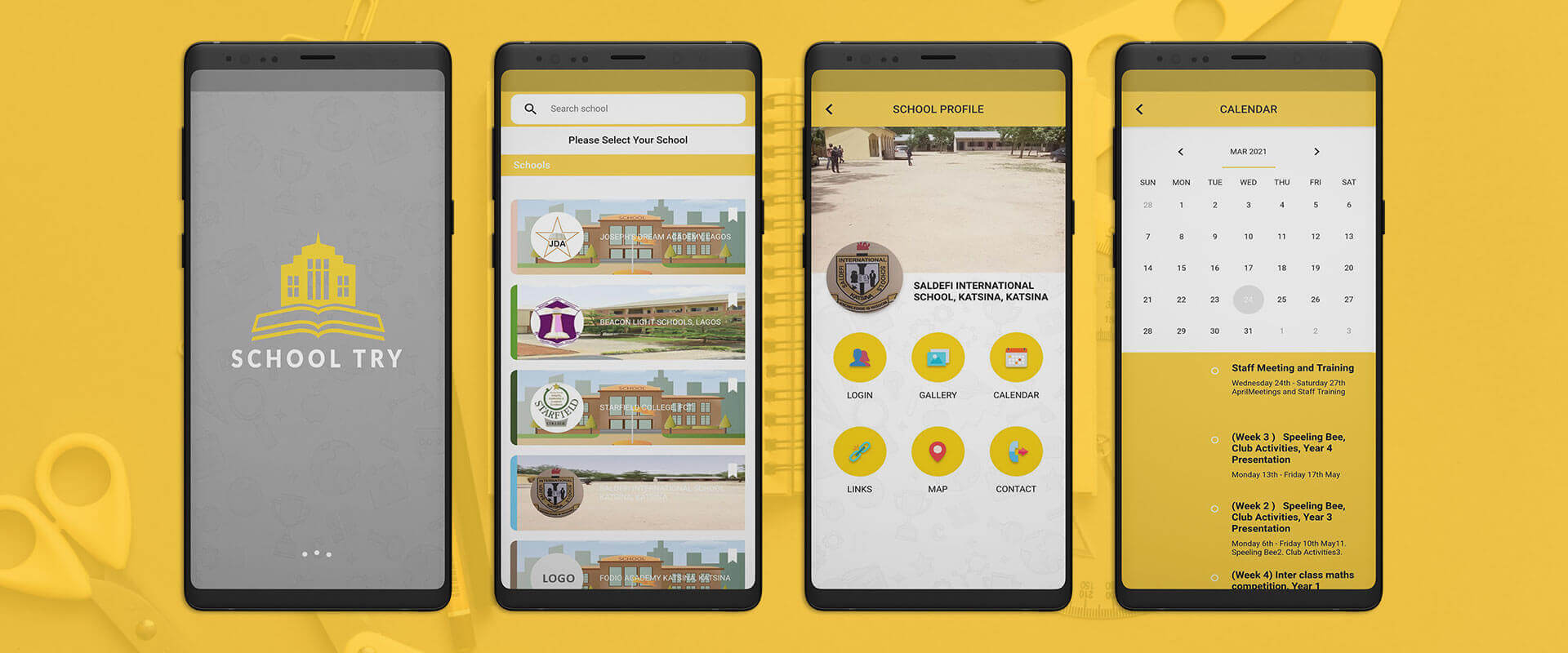 schoolTry android app design
